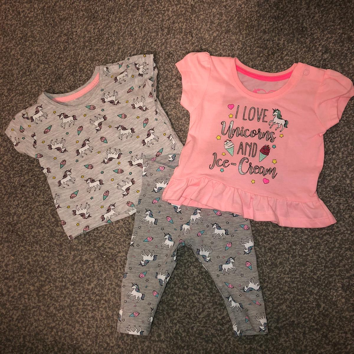 Baby girl unicorn set, leggings and two tshirts. 3-6 months. Brilliant condition.