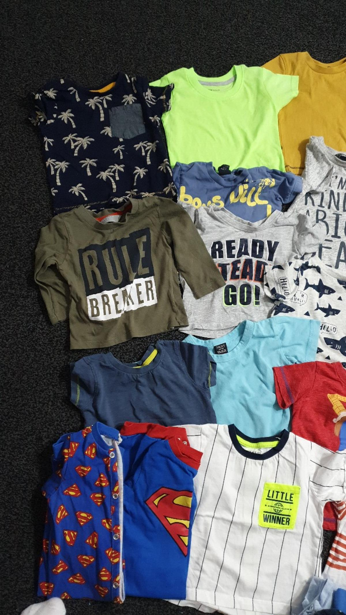 mostly 3-6 and 6-9 months. t-shirts. hoodie jacket. sleepsuits vests. few bibs. all my items come from a smoke and pet free home. please see my other items.