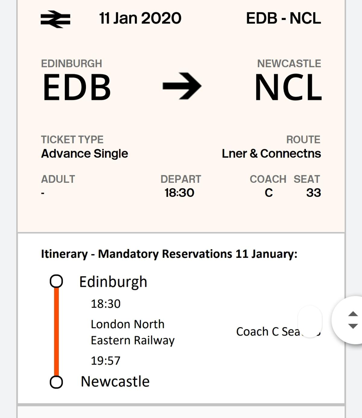 I am selling 2 return train tickets from Newcastle to Edinburgh. This is to leave newcastle at 9.54 and return at 18.30 on the 11th Jan.  I am selling as can no longer make the journey. The tickets are etickets so I can send the link as soon as payment is received.  Any questions please ask.  Thanks.