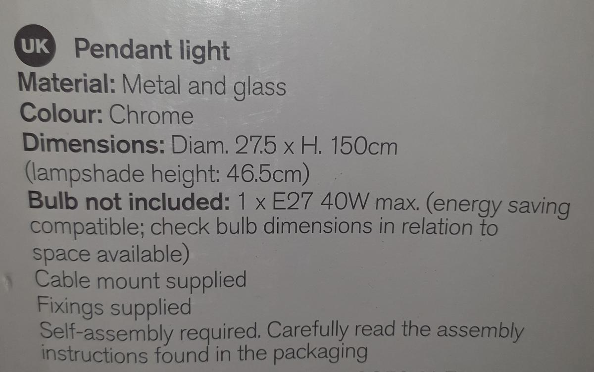 material: metal and glass colour: chrome
