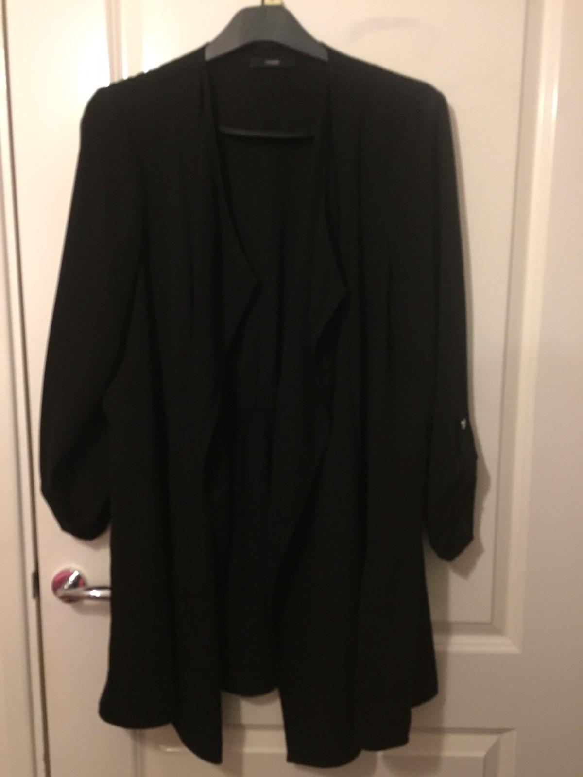 Only just bought at Christmas Asda long waterfall blazer Size 18 Black Never been worn Button detail turning sleeves up