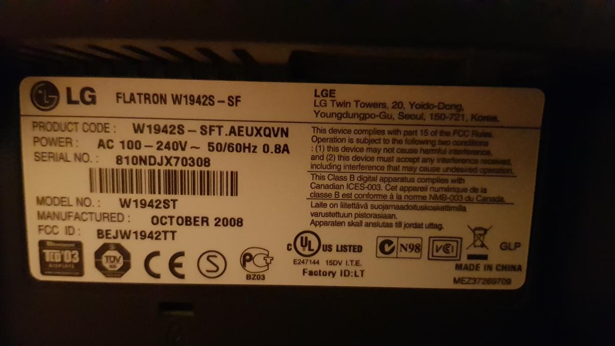 LG Flatron W1942 19 inch LED monitor. Good condition. VGA input. VGA and mains cables supplied.  Cash and collect only.