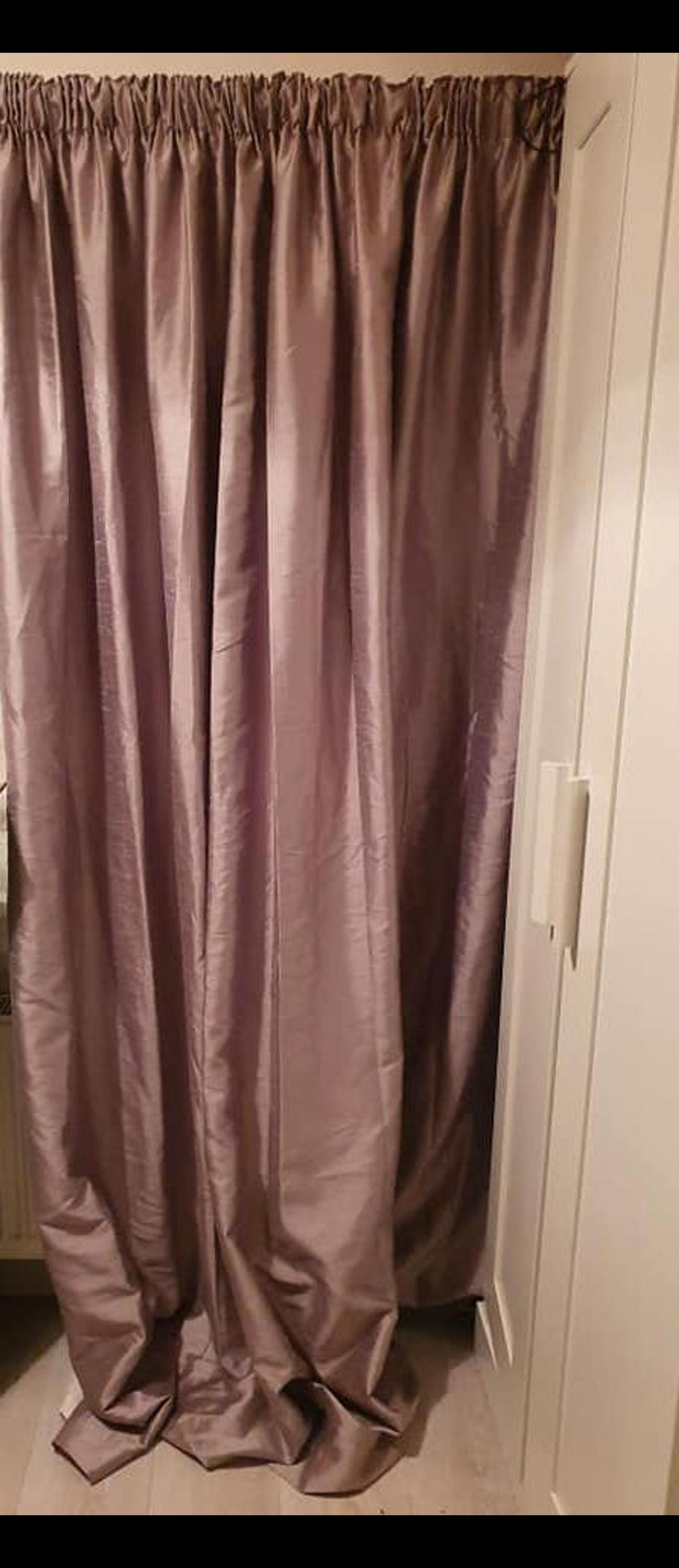 This curtains are a lovely grey but tints to colour if your room are lined pinch pleat 90x 90 I have two pairs, I also have cream curtain light pair for summer and heavy pair for winter, white voiles and more please come have a look.. looking for decent price £50 ono