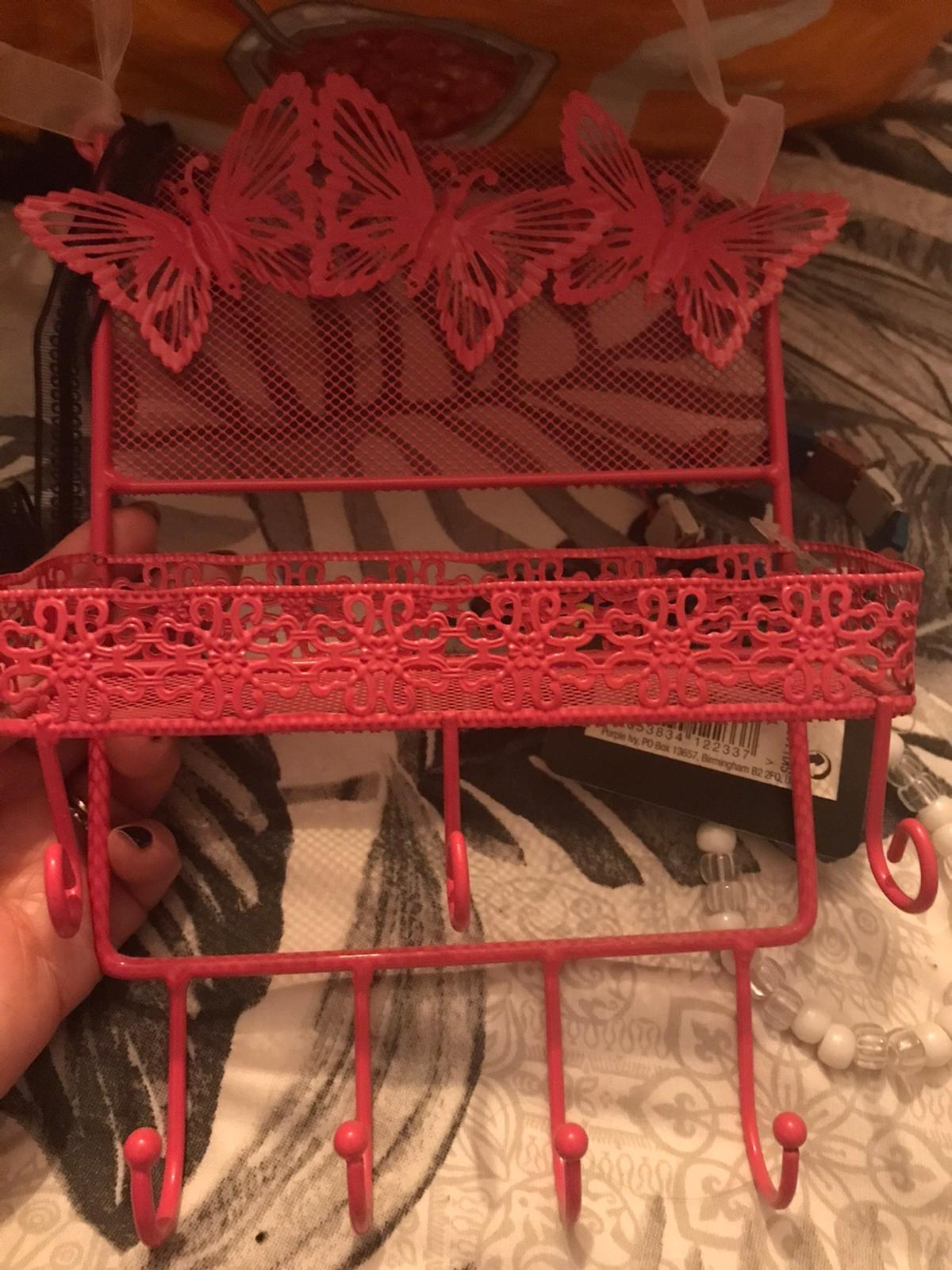 Jewellery trinket holder. Basket for bits and hooks for necklaces. Butterflies Beautiful