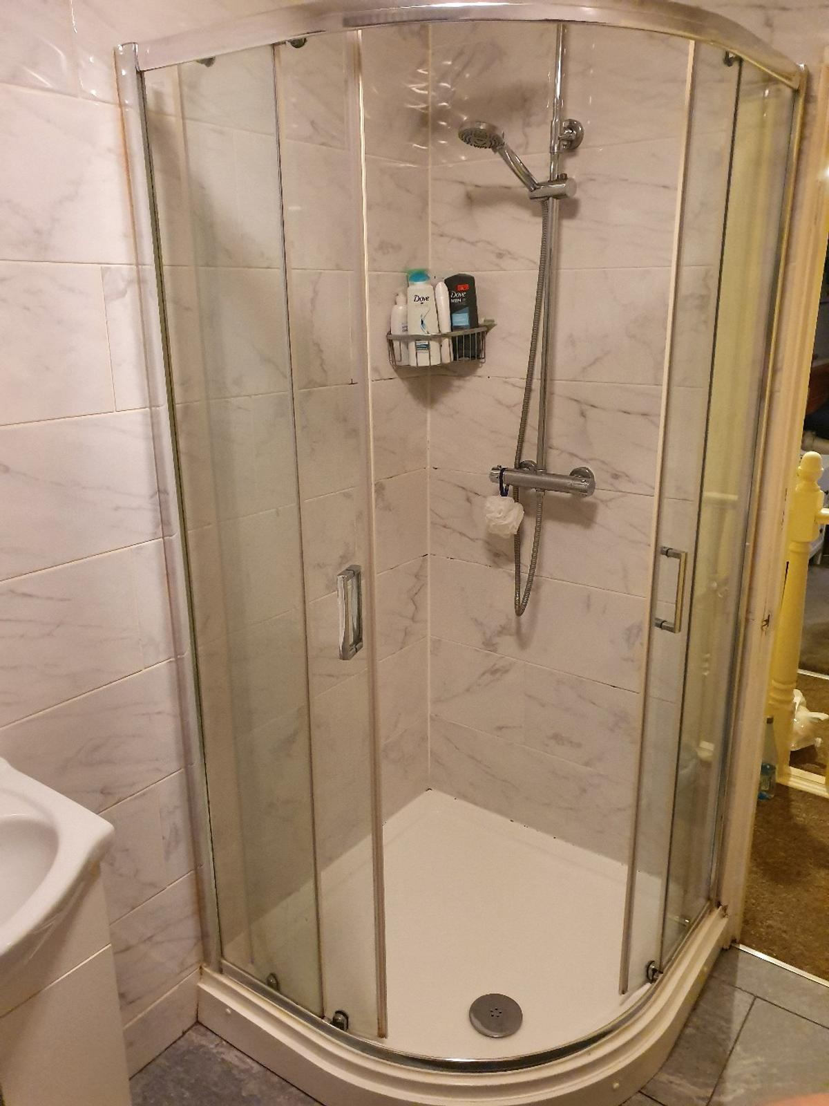 shower not included 3ft x 3ft tray glass sliding doors with chrome fittings selling as ive had a bath put into my bathroom open to offers collection only other bathroom items also for sale