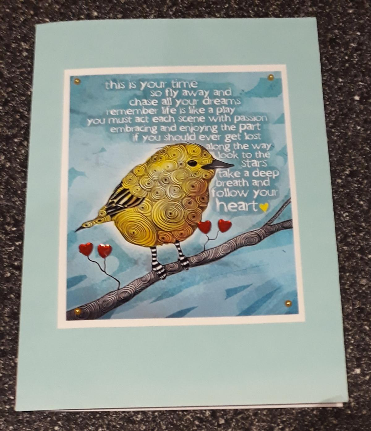 *POSTAGE IS AVAILABLE* A HANDMADE CARD LOVELY QUOTE BLANK INSIDE FOR YOUR PERSONAL MESSAGE. COMES IN A SEALED PROTECTIVE BAG.