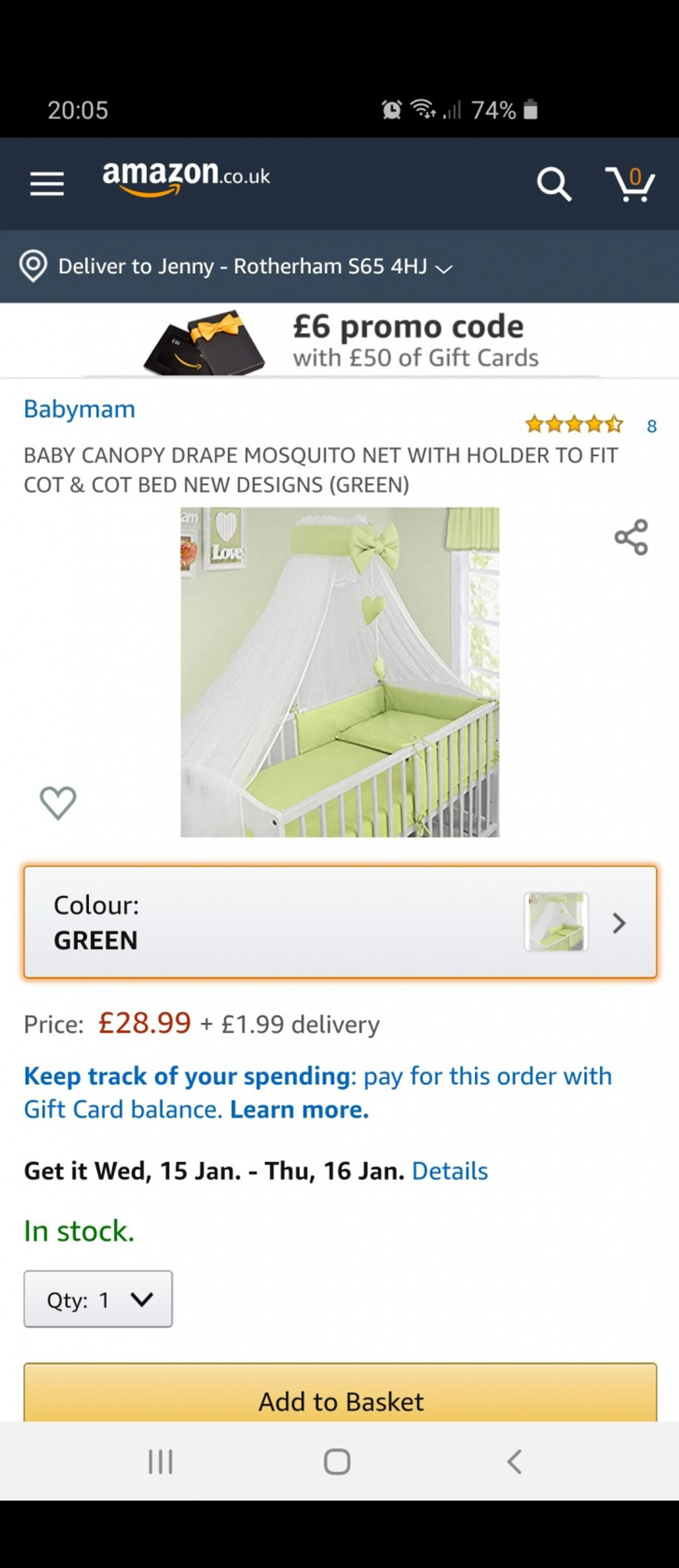 Cot bed canopy, canopy holder, decorative bow and ribbon with hearts, pale green, condition like new. The drape is made of airy chiffon, which does not deprive the child from light and air. Canopy allows you to cover all 4 sides of the cot and use it as a mosquito net - to protect your baby from insects and dirt. Used very little, in excellent condition. Been already washed and stored away. Cot bed, bedding and cot mobile are not included. Smoke and pet free home. Collection S65, Rotherham.