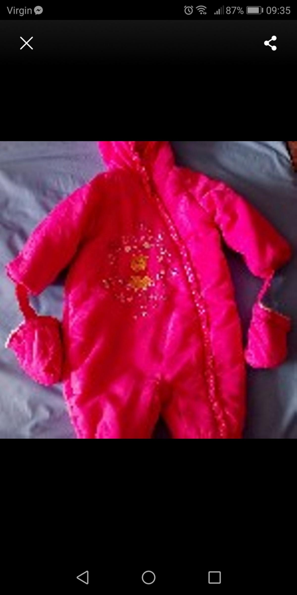 0-3 months snowsuit £5 each or both for £6. Pink one is Disney with Winnie the Pooh on. purple one is boots make. From a smoke and pet free home. Collection and cash only by Longbridge train station B31 4EH