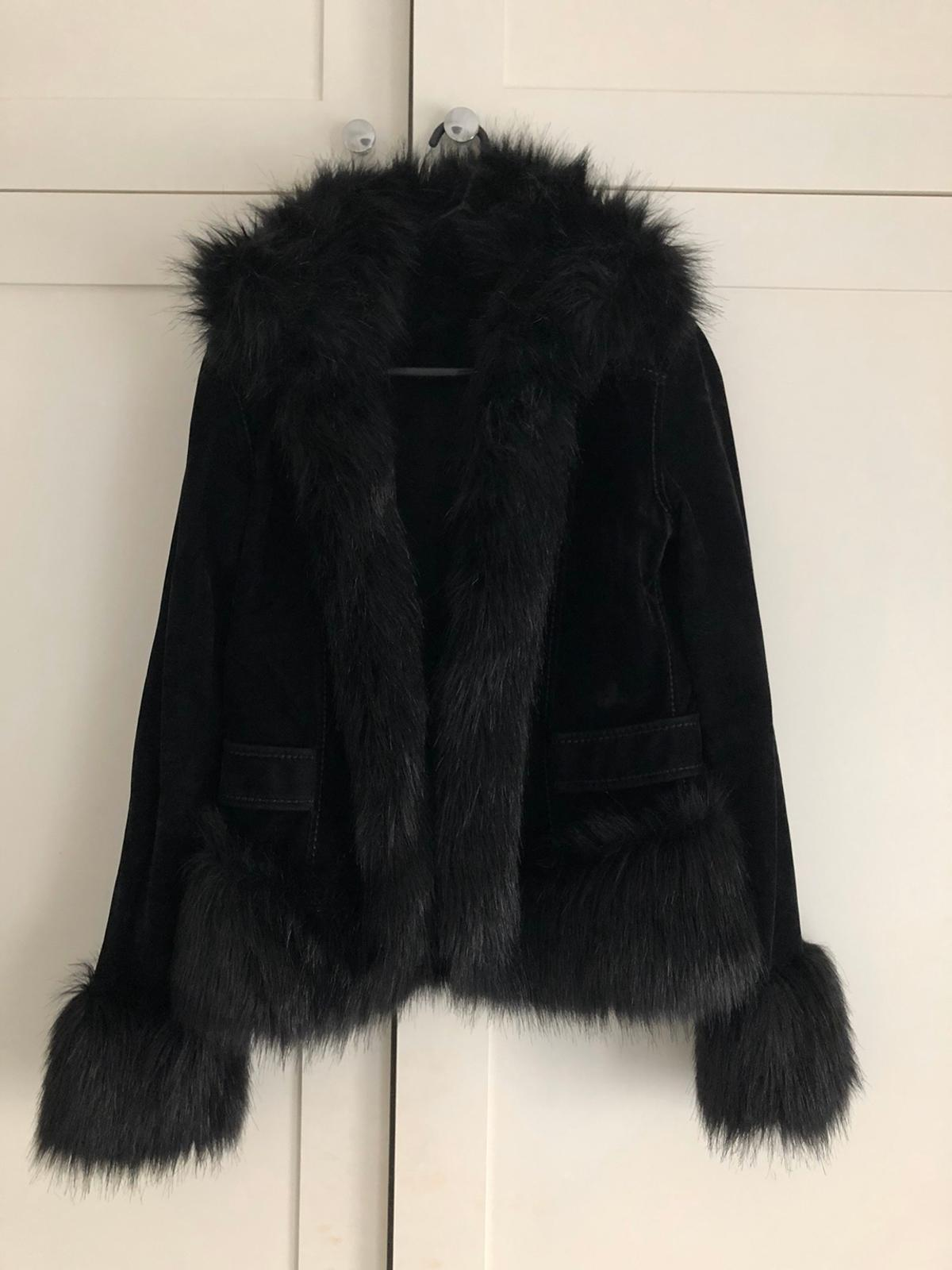 Glamorous faux fur coat in suede Perfect condition Size small will fit an 8-10
