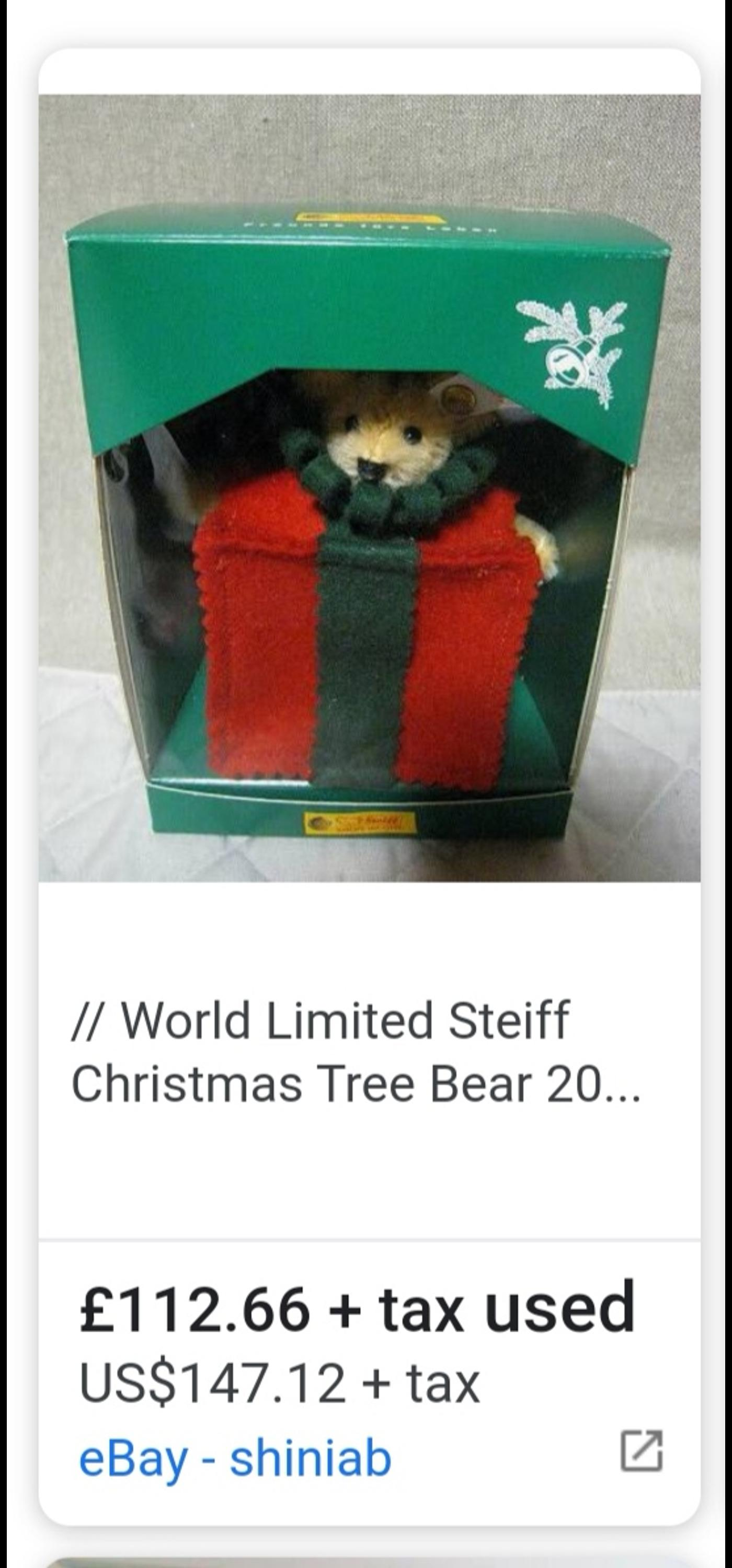 Steiff Christmas tree bear 2000 - limited edition of 5000 - light blond 11cm - number 1397 - in box  Collection Calverton ng14 or netherfield ng4