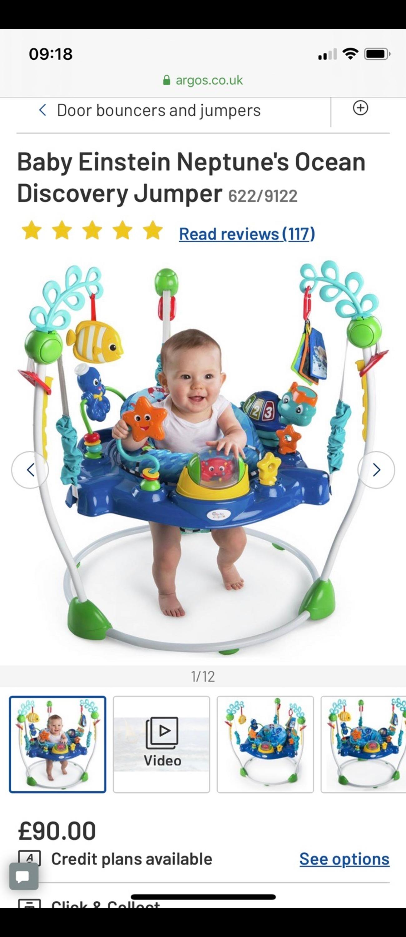 An ocean of activities in a space-saving design that easily adjusts to grow with your baby. Let Baby Neptune introduce your baby to a playtime filled with ocean-themed exploration. The Baby Neptune Jumper features an electronic turtle toy station that entertains your little one with lights, sounds, music and more. Your baby will discover numbers and colours in three languages - English, French and Spanish.  Removable electronic turtle station with lights, sounds, and language discovery introduce