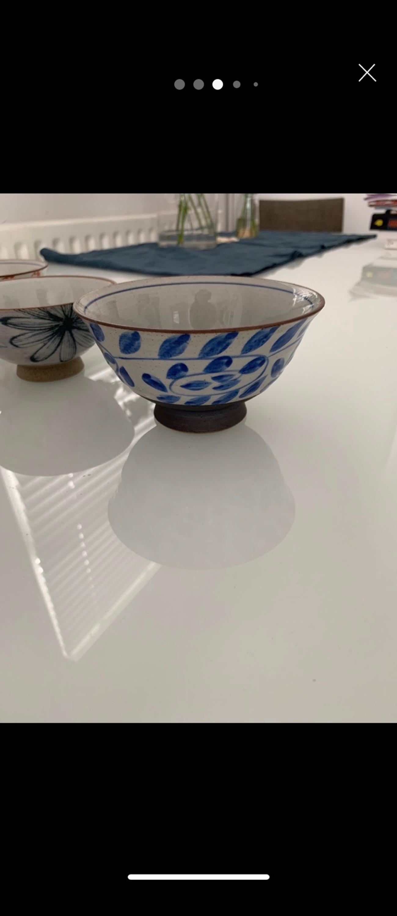 4 bowls from Arita pottery in Japan. Beautiful painted. Good size for soup, rice, cereal.