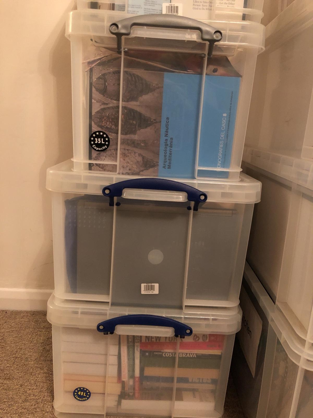 Selling a total of 8 strong used plastic boxes of 3 different sizes.  2 x 35 litres 3 x 42 litres 3 x 64 litres  They are full of my stuff but I will empty them if I sell them.  I also sell 8 strong cardboard boxes large size perfect for bulky light stuff and small size perfect for books (it's not too heavy when full). Only used once.