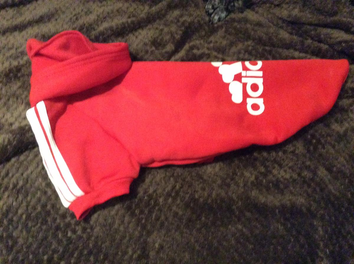Fabulous red puppy fleece hoodie, Brand New, machine washable,,,Will keep your puppy warm and dry,,,Bargain