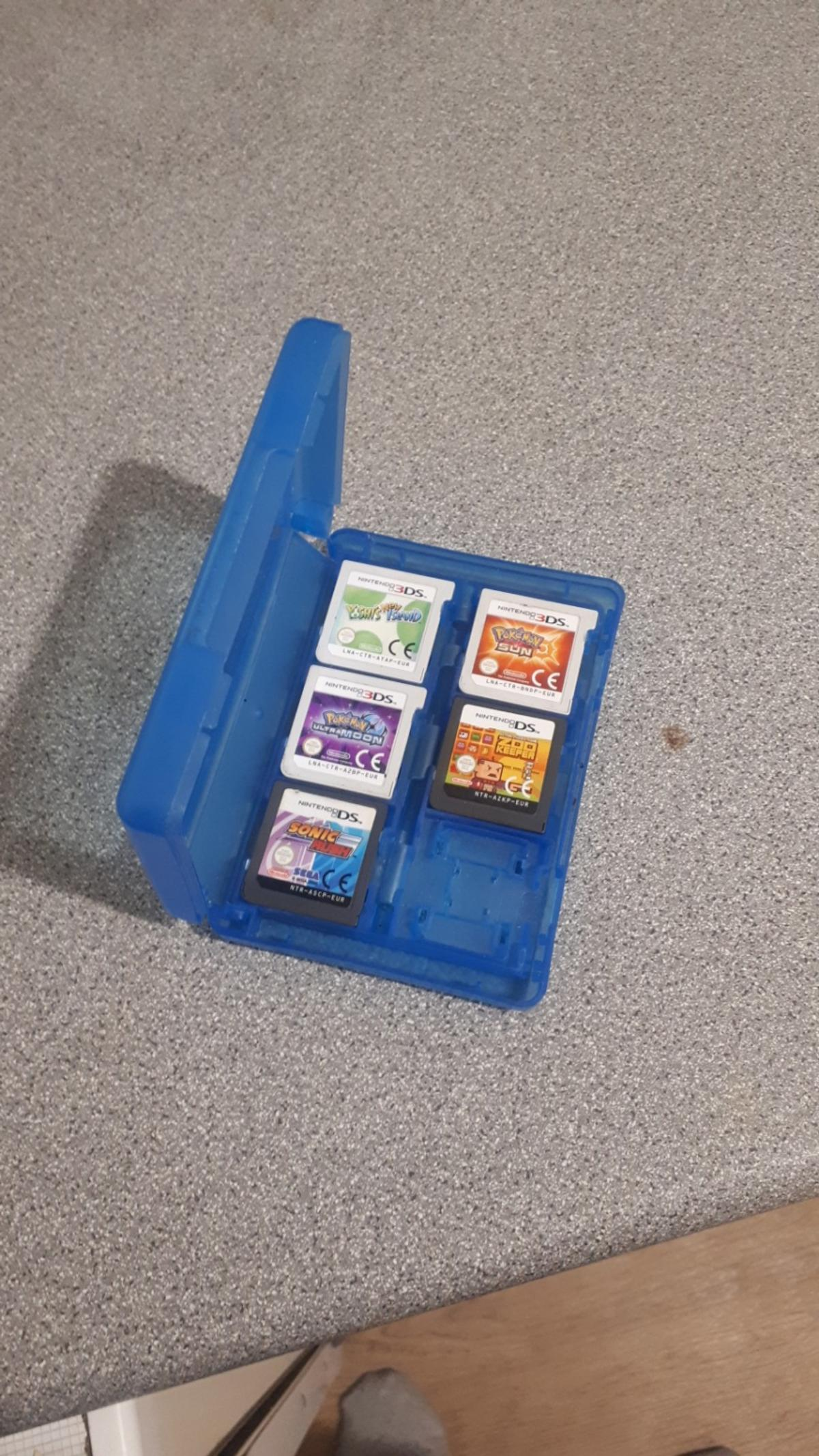 hi theres 3 nintendo 3ds games pokemon sun pokemon ultra moon yoshi's island an theres 8 nintendo ds games SONIC RUSH ZOO KEEPER STARWARS III SUPER MARIO BROS BATMAN the video game MADEN 08 SUPERMAN 3 LETS DRAW all in good working order but unfortunately theres know cases but all games in a carry case open to sensible offers many thanks luke