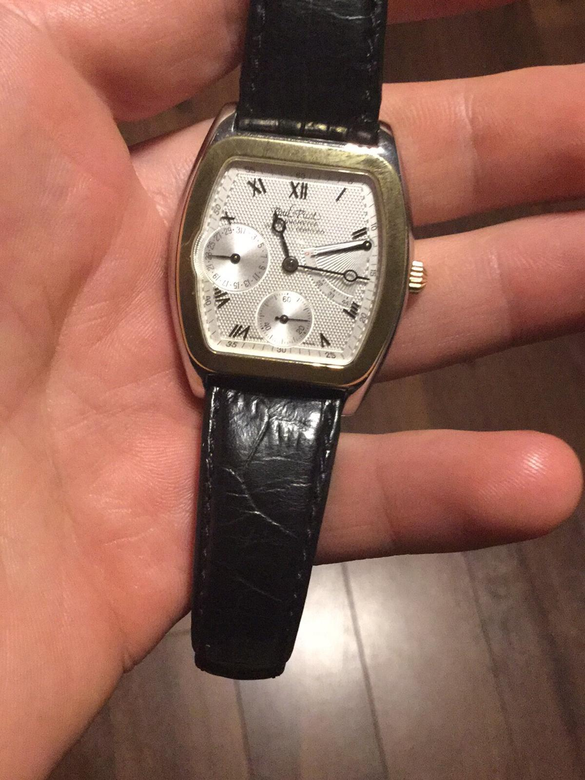Paul Picot Watch Very rare and collectible watch in-hours movement automatic from Cartier keep perfect time fully serviced from Paul Picot factory 🏭 few weeks ago Got bax original certificate from 1999 18ct gold bezel and crown 👑 L edition to 99 pics every made Please not time waster viewing is welcome