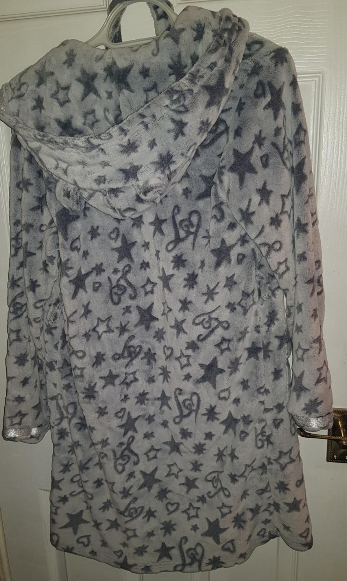 Womens Lipsy Dressing Gown Hooded Belted Grey Good condition hearts stars