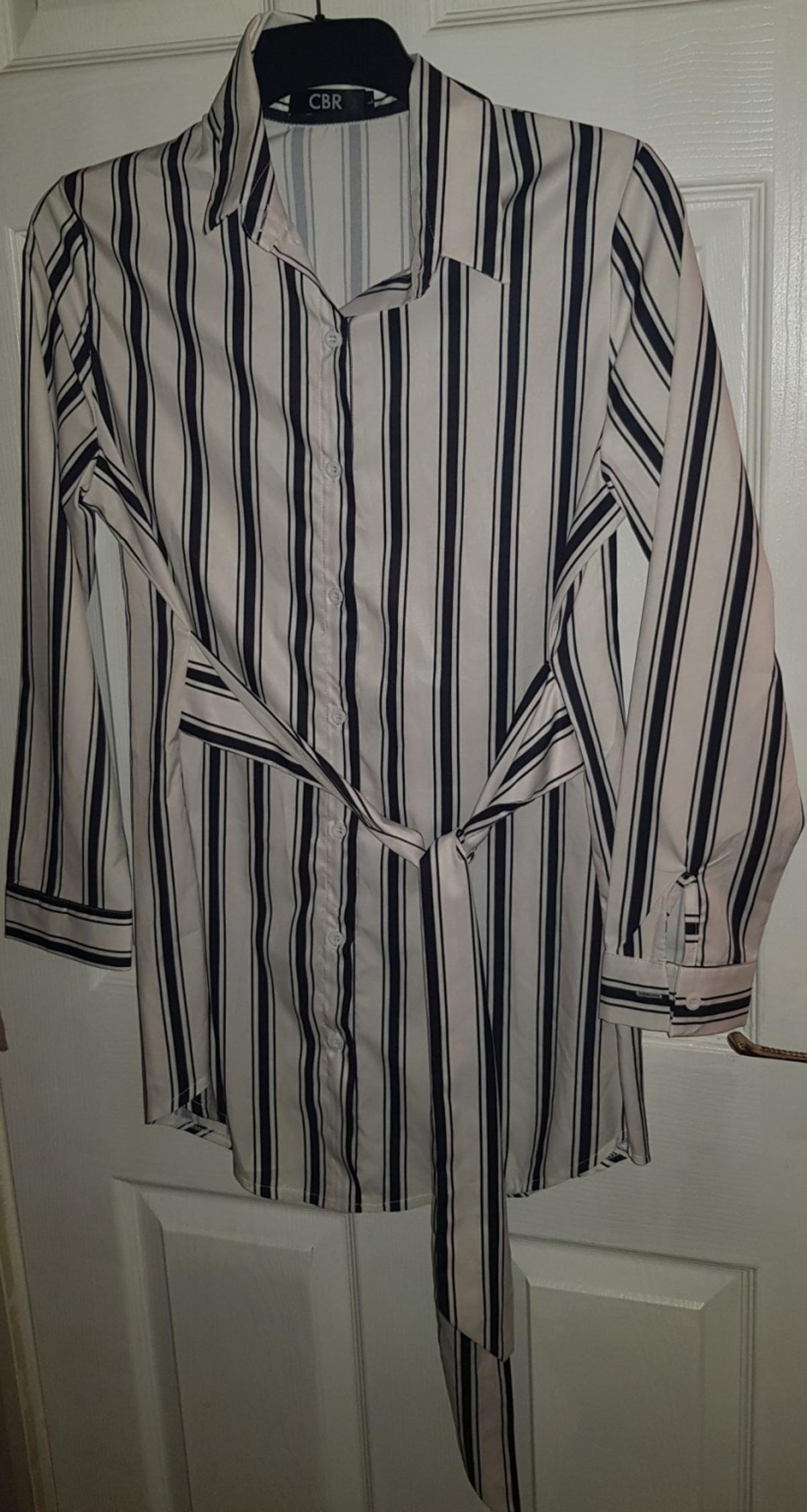 womens smart white black stripe striped shirt size L Large belted tie waist long sleeve button up collared sexy office