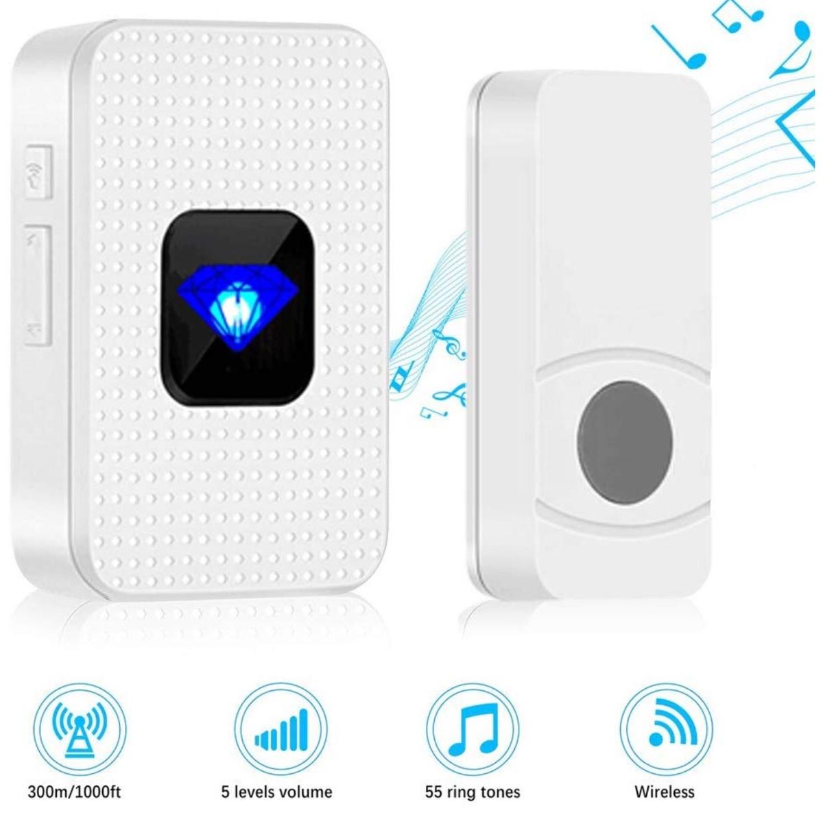 Wireless Doorbell, Mini Wall Plug-in Door Chime Kit IP55 Waterpoof Portable Doorbell Door Entry Bell with 1000ft Range, 55 Melodies, 5 Volume Levels and LED Flash