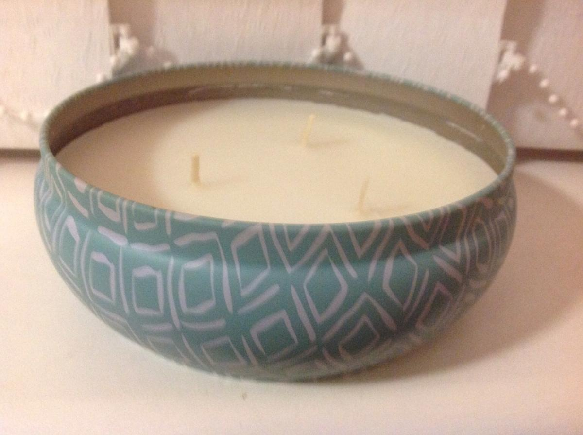New 3 Wick Fragrant Candle in a decorative tin.