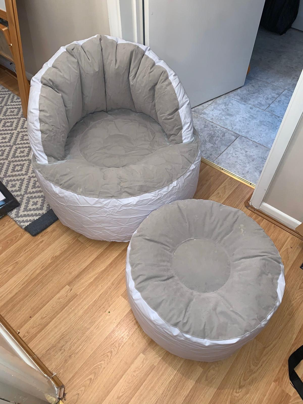 Perfect condition barely used - inflatable chair and stool. £10 Ono can post for £3.95