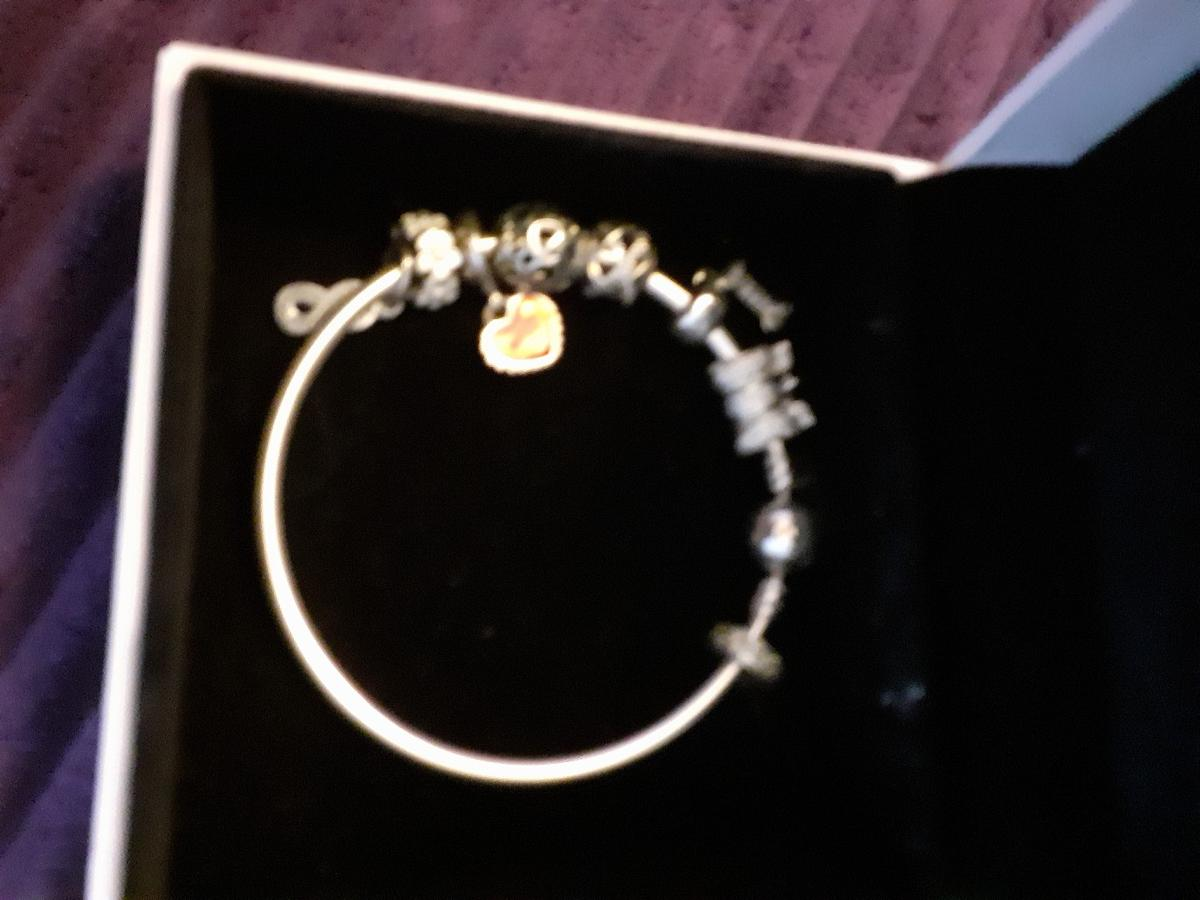 lovely pandora bangle. genuine reason for sale. 8 charms. 8 inches.