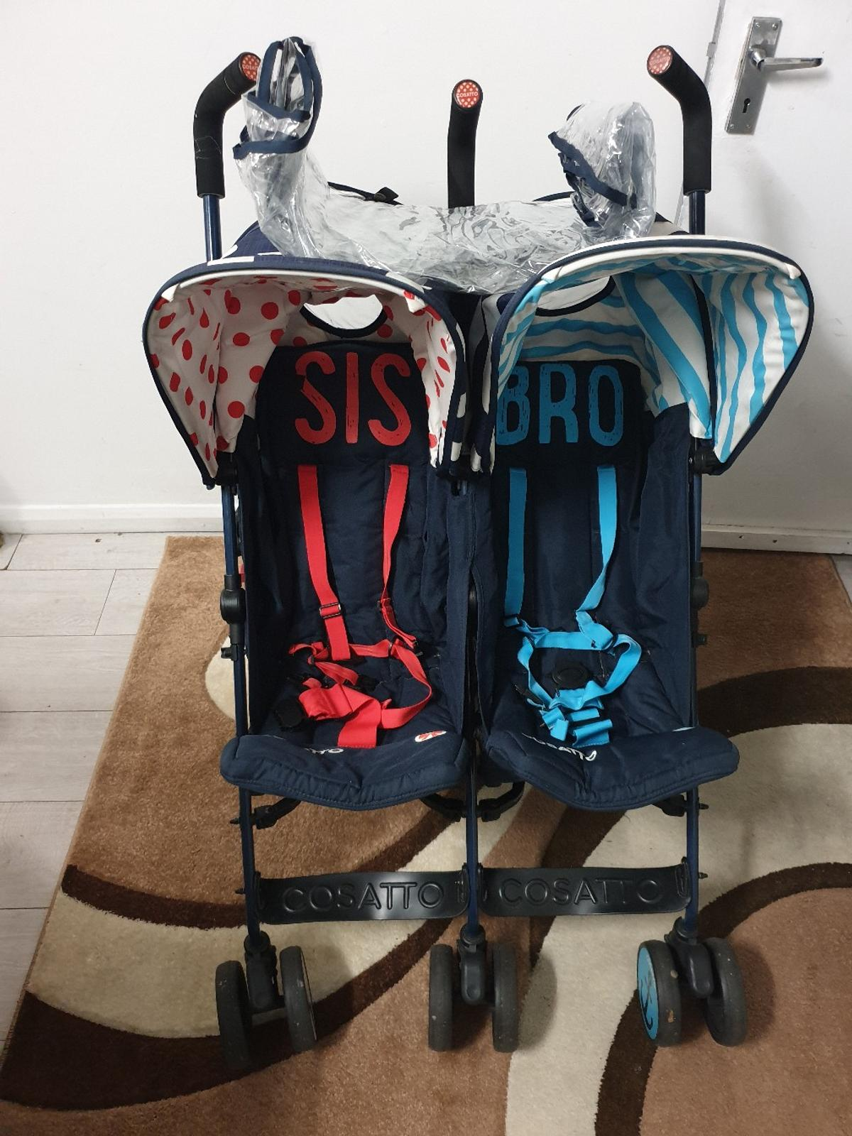 cossatto supa supa twin stroller , sis an bro, suitable from birth to 4 year old