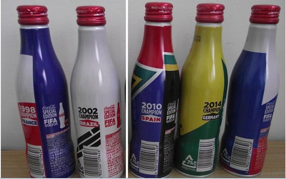 Lot of 5 new Coca Cola from Taiwan, world cup series in a special aluminium bottle, all the bottles are full. World cup from 1998 to 2018 (France 1998 - Korea & Japan 2002 - South Africa 2010 - Brazil 2014 - Russia 2018). Please be aware that Germany 2006 bottle is not available and not included in this listing. The price in this listing is for the full 5 bottles. Ask for other Coca Cola for collectors, I have several. I can send via post for an extra charge.