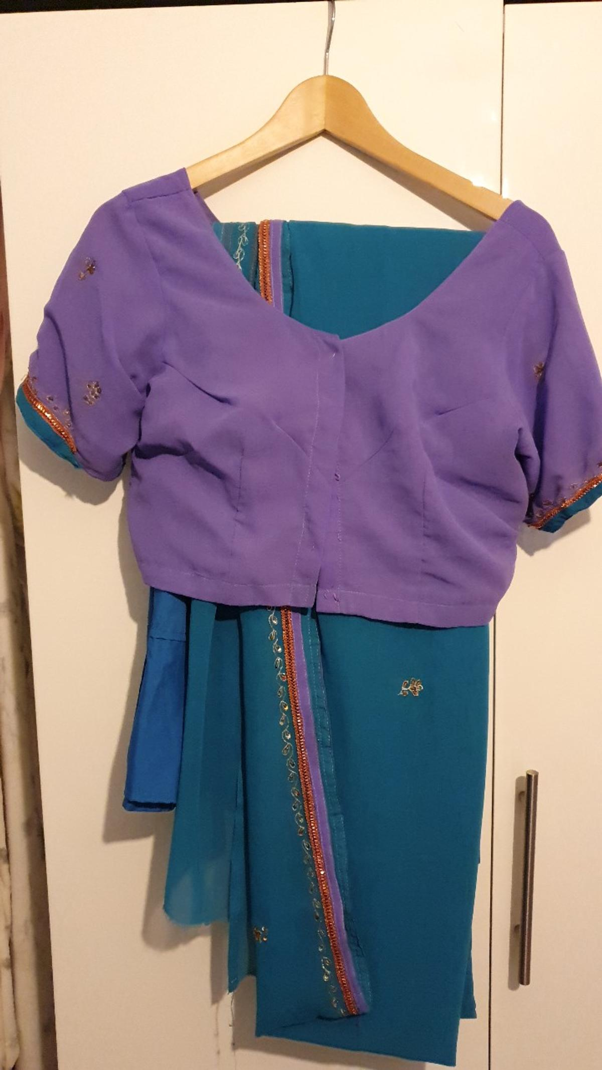 Purple and teal sari. Top would fit sizes 12-16 Worn only twice