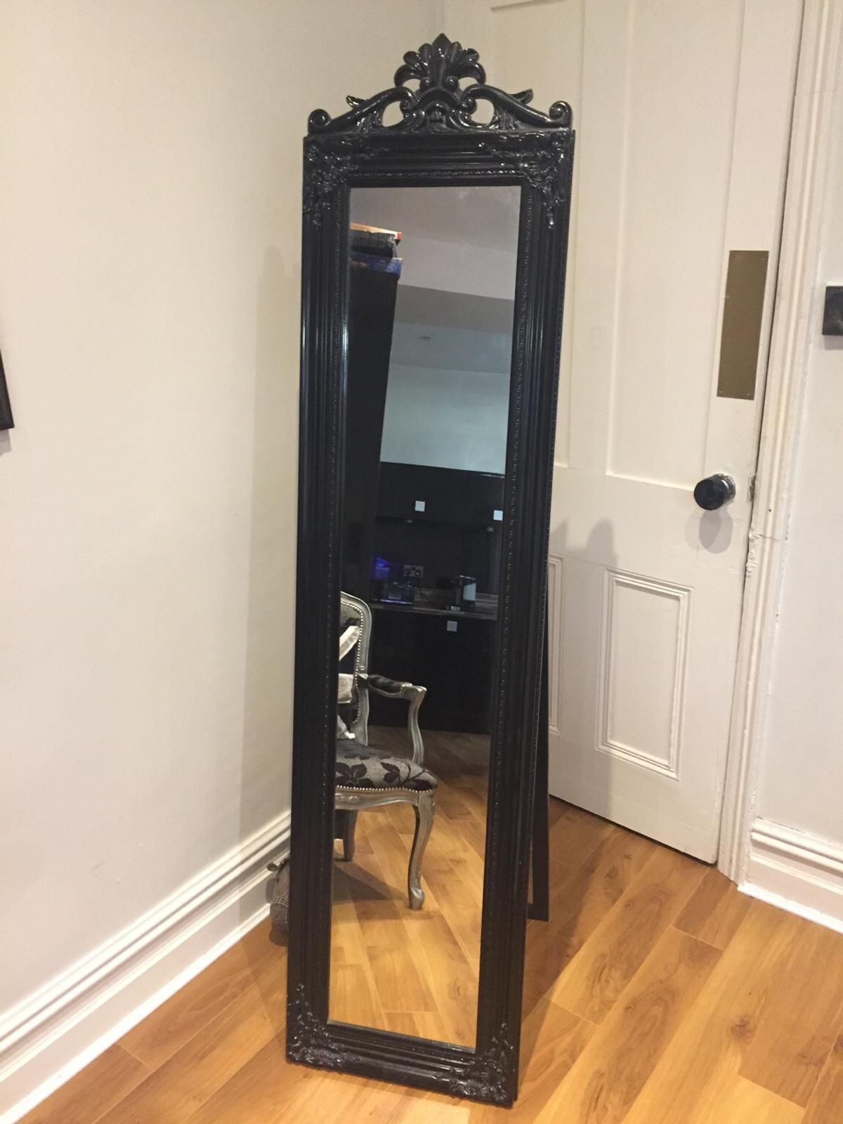Large Ornate Black Freestanding Mirror