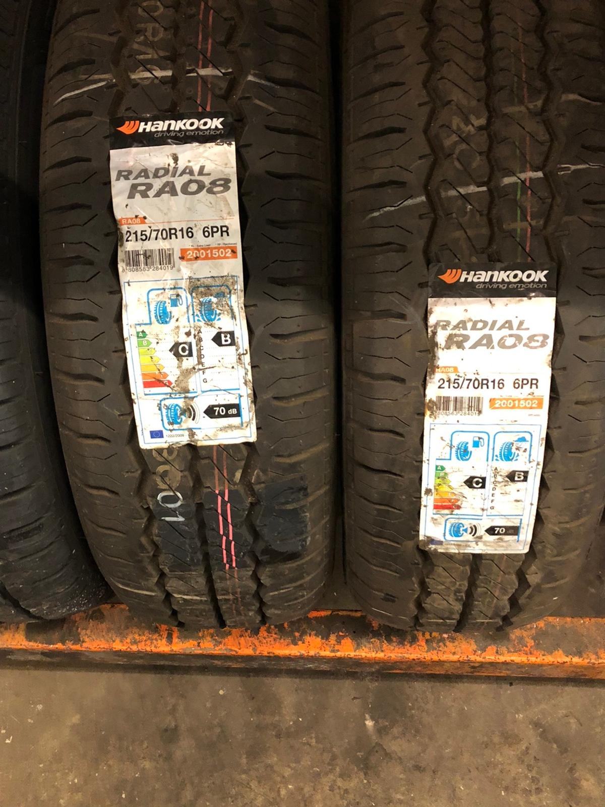 A pair of 215/70x16 108/106T RA08 Hankook van tyres  Tyres can be fitted  Free delivery if local