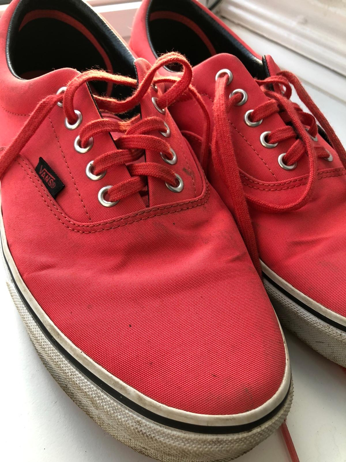 Canvas vans salmon pink size 10.5 US11. Used but in good condition as hardly worn. Plenty of wear left in them. Buyer to collect.