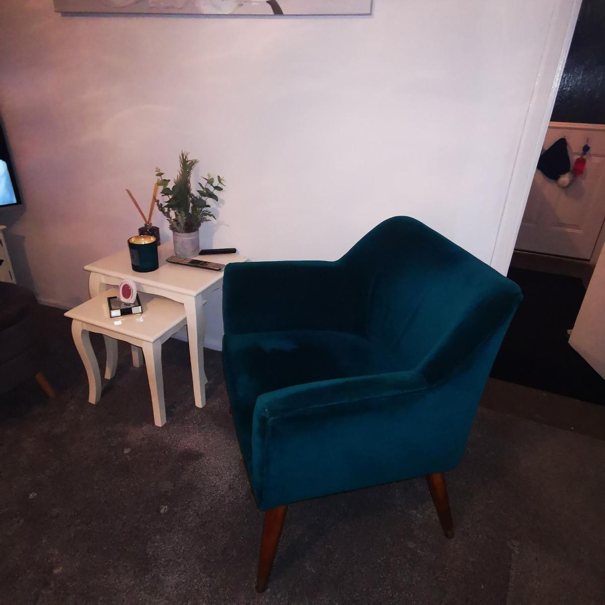 Made. Com 2 setter limited edition teal velvet sofa and teal occasional chair both not even 6 month old cost over £1000 excellent condition from a smoke free home. Selling due to move. Pick up only from WF4.