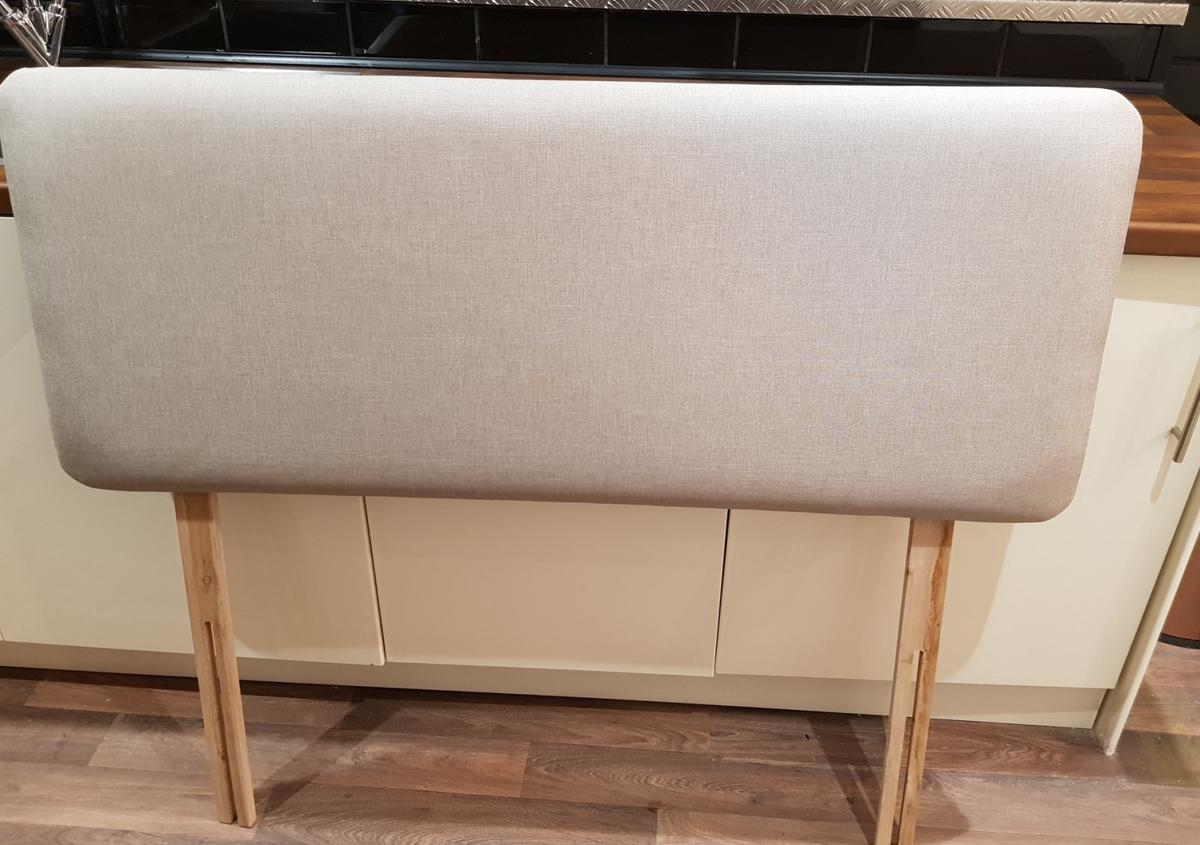 Beige Linen Three Quarter Head Board. Like new. Collection from Brierley Hill DY5 3PG. No delivery