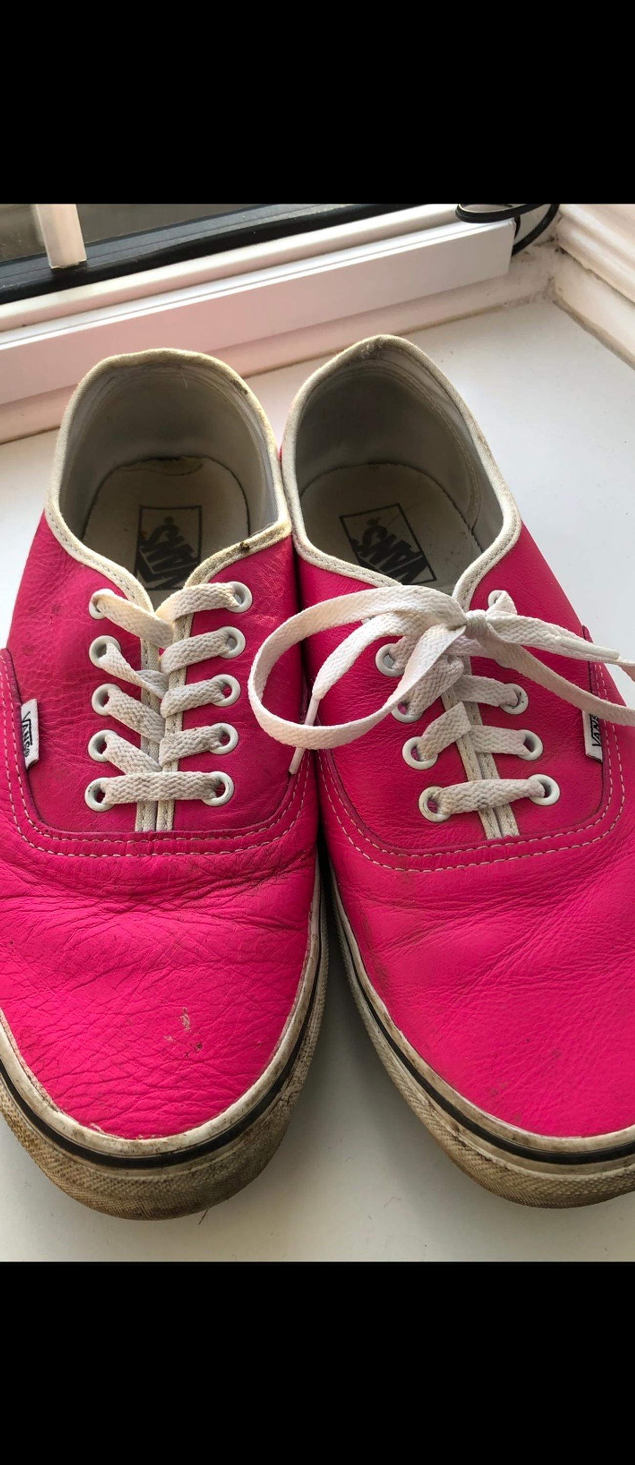 Pink leather vans. Size 9.5 US10. Used but still good condition and plenty of wear left in them. Buyer to collect.
