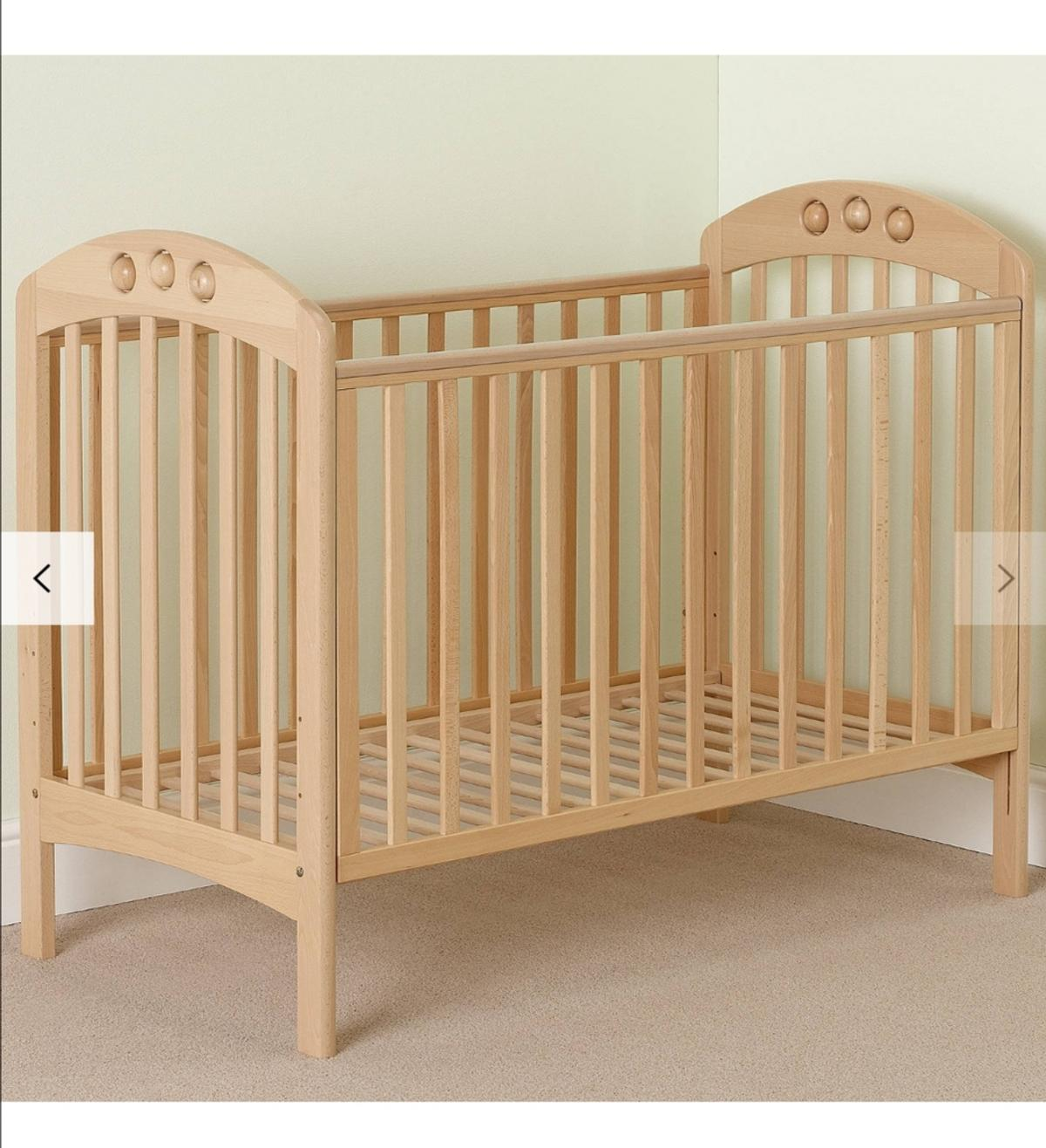 John Lewis baby playbeat cot. New mattress included used only for a month. Easy to assemble. Suitable from birth. Has to go asap as moving abroad.