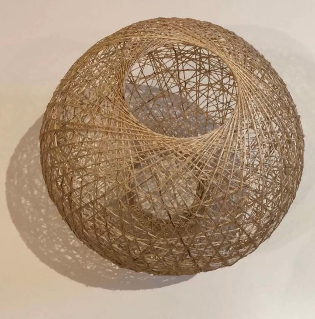 Rattan style pendant shades, like new, used for a very short period and in good condition. 24.5cm diameter.