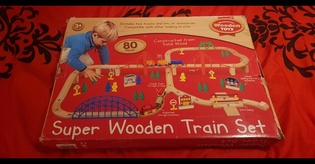 for sale is a used super wooden train track set, this is used so doubtful every piece is there but I'm confident most of it is.  collection Rawnsley