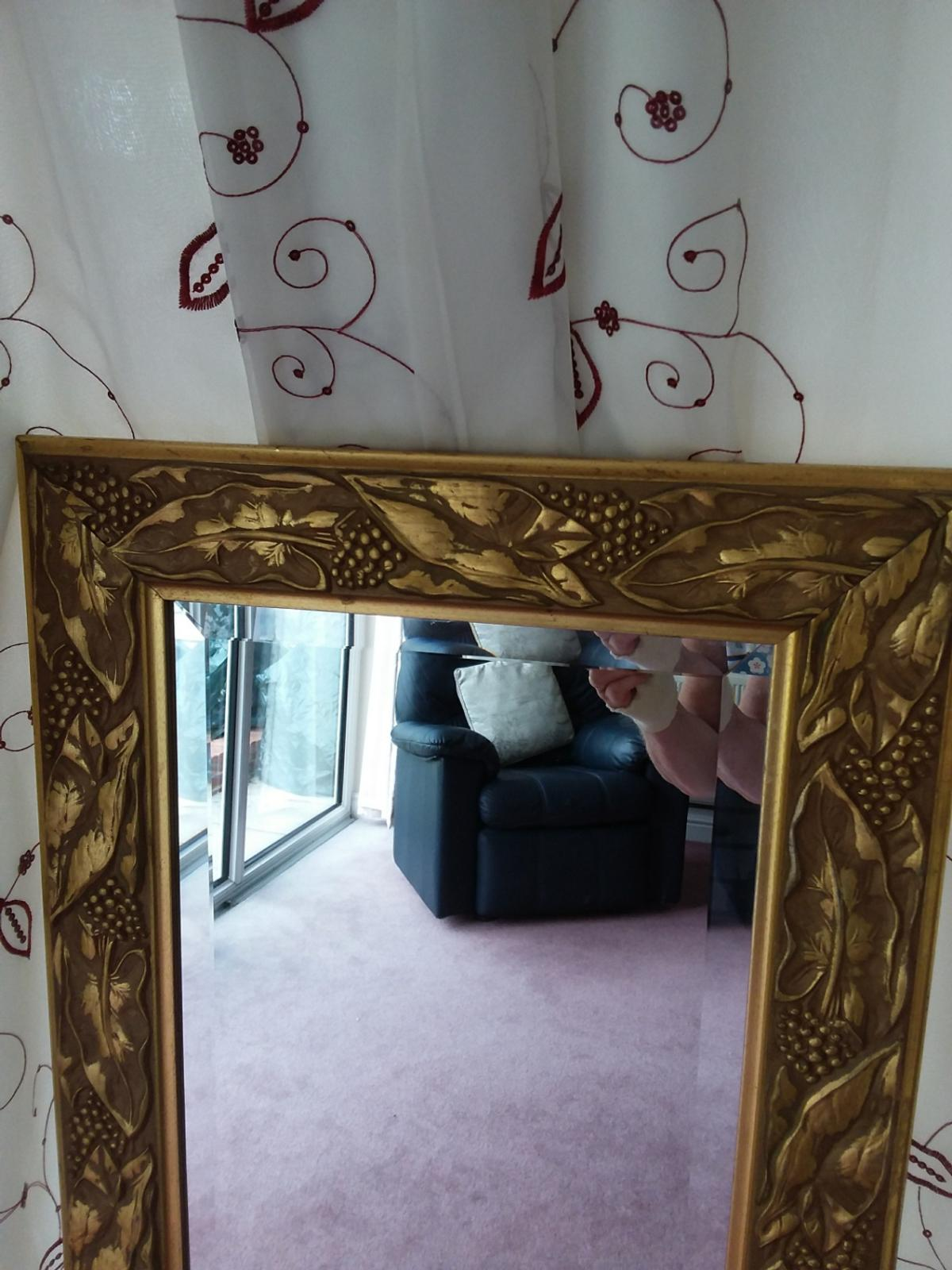 Lovely gold effect long mirror. 45 cm (18 inches) wide x 137 cm (54 inches) long. Very good condition.