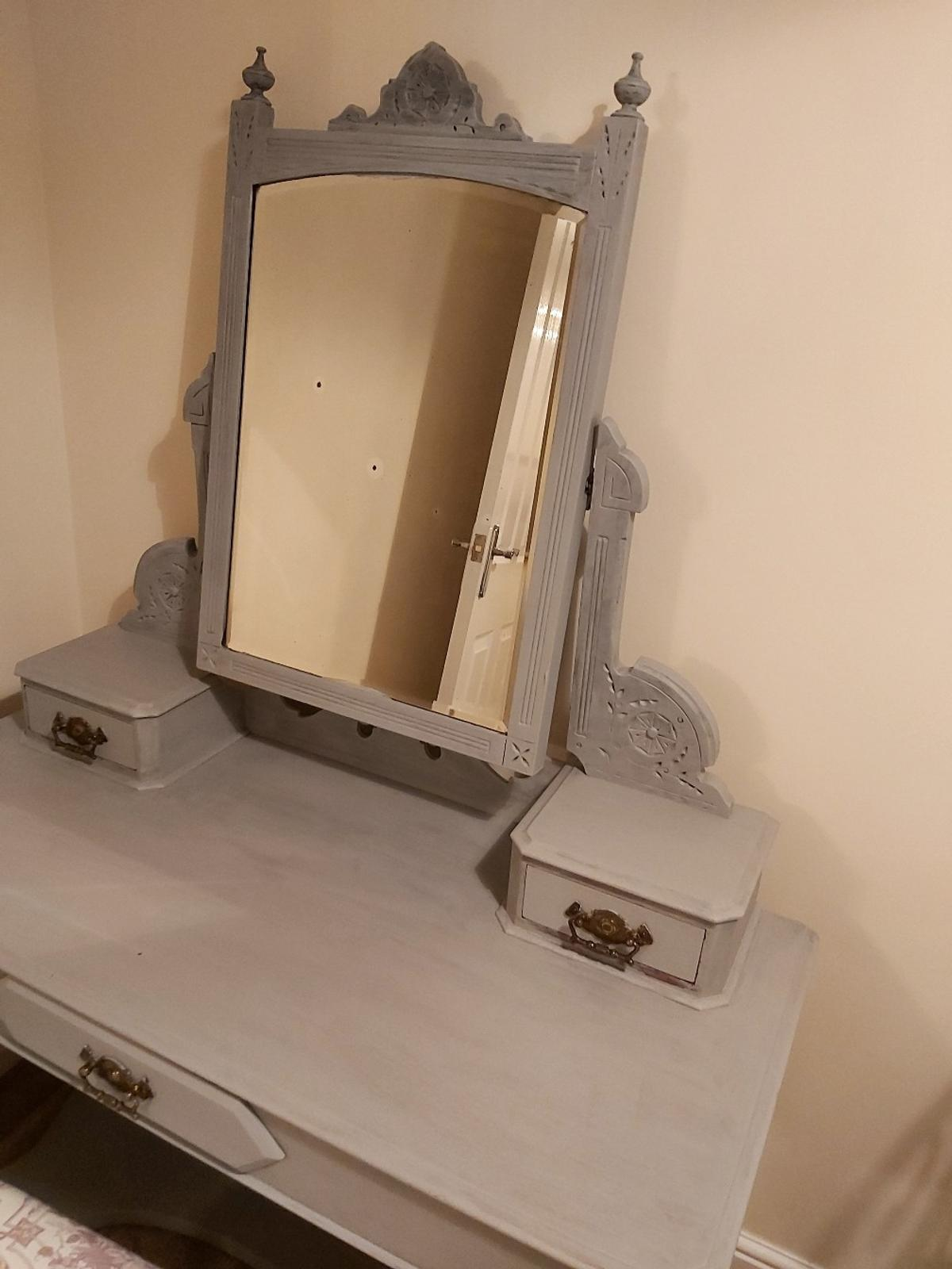 dresser&footstool for sale, originally mahongany but refurb with grey paint and footstool with Laura Ashley material, wear on mirror and mirror needs new screws as loose but a great dresser and only needs a bit if TLC, collection only S63 Wath