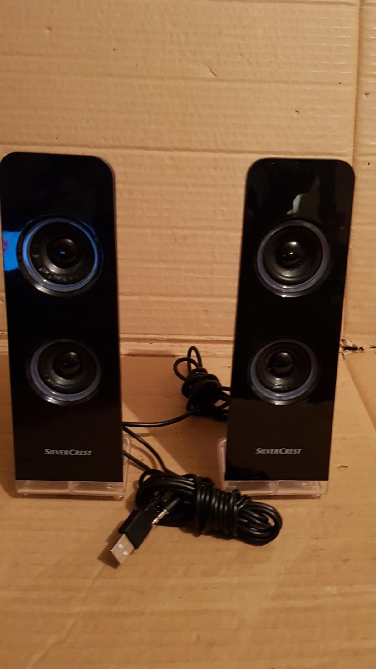 THESE USB SPEAKERS LIGHT UP NEON BLUE , SEE PICTURE, MODEL SLB 1.2 C2 USB 5V NO SILLY OFFERS , collect or pay postage can deliver if local for a small fee of £2.00