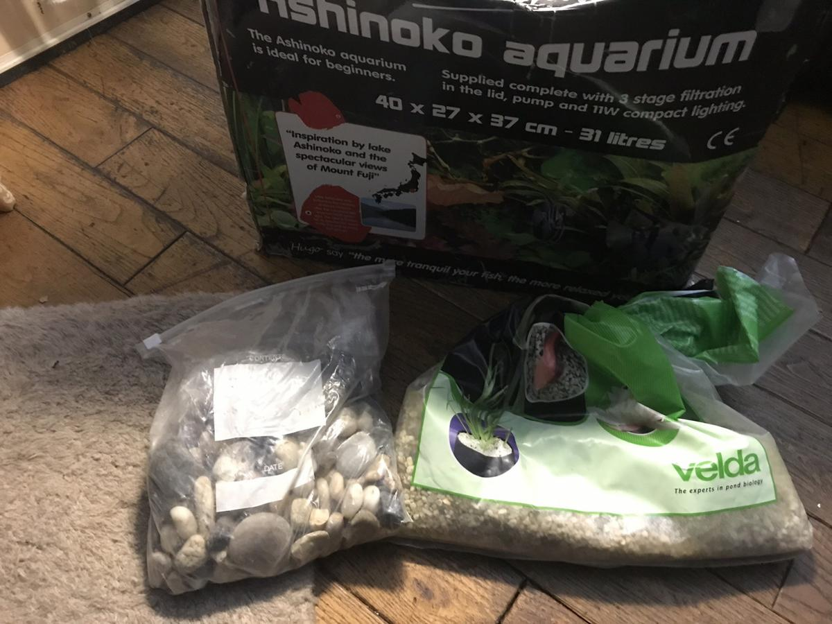 Ashinoko Aquarium fish tank 40 x 27 x 37cm. 31 litres. In white comes with original box, internal light, some rocks, some gravel, plant and ornament and a pump. In clean condition ready to set up.