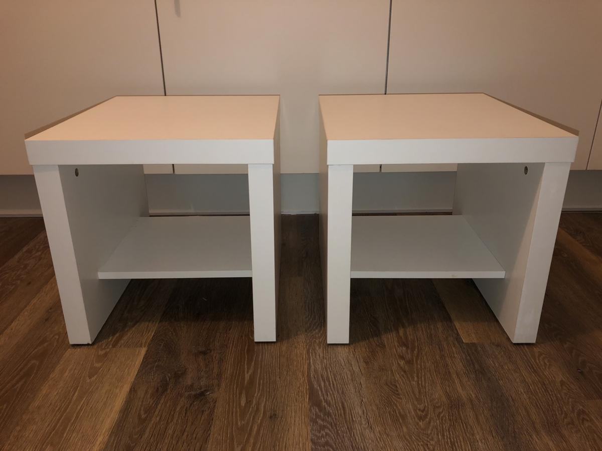 X2 white bedside tables with under shelf  Good condition  Collection Only