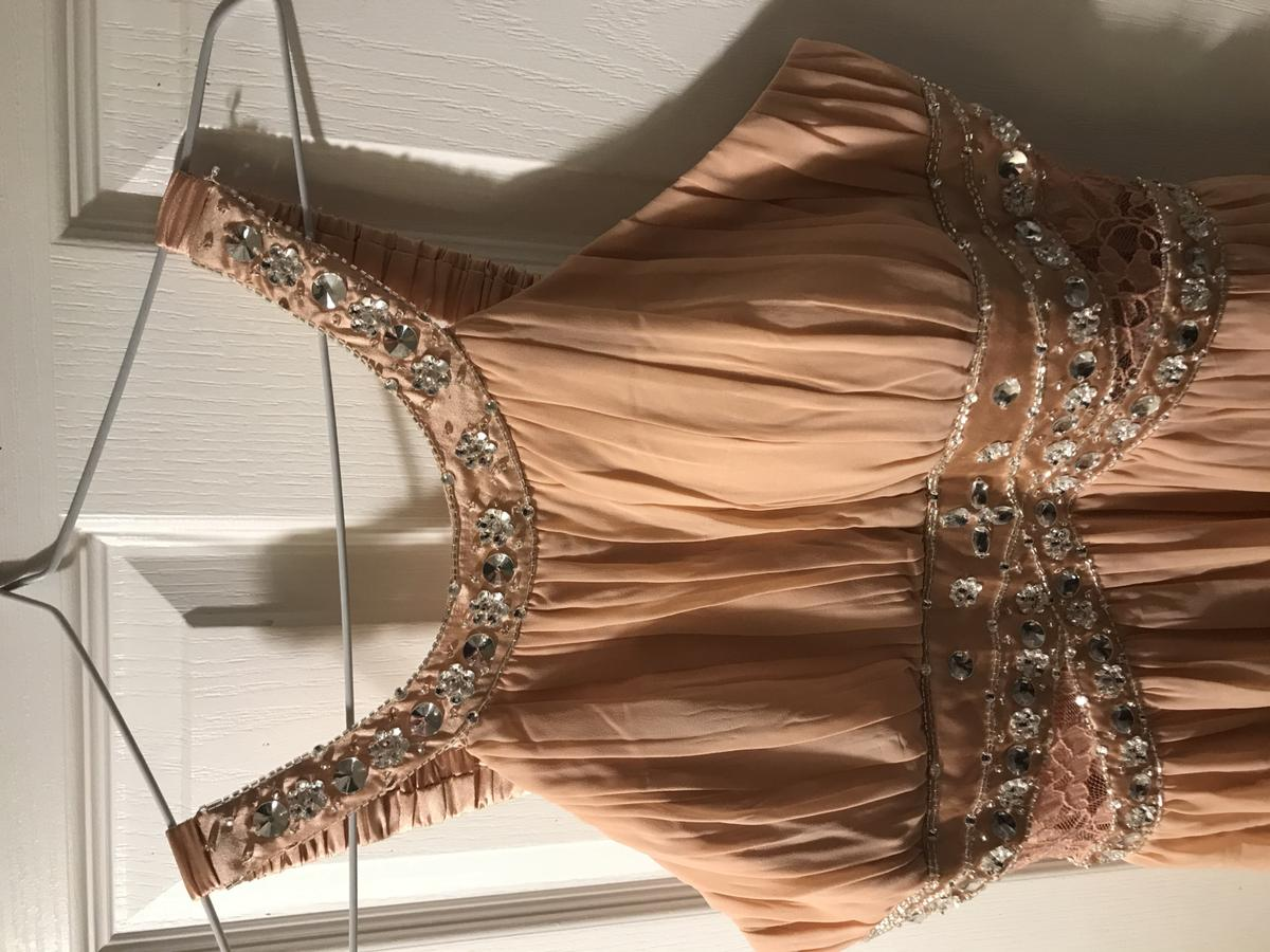 Brand new with tags. Embellished lace detail chiffon maxi dress, in colour blush.