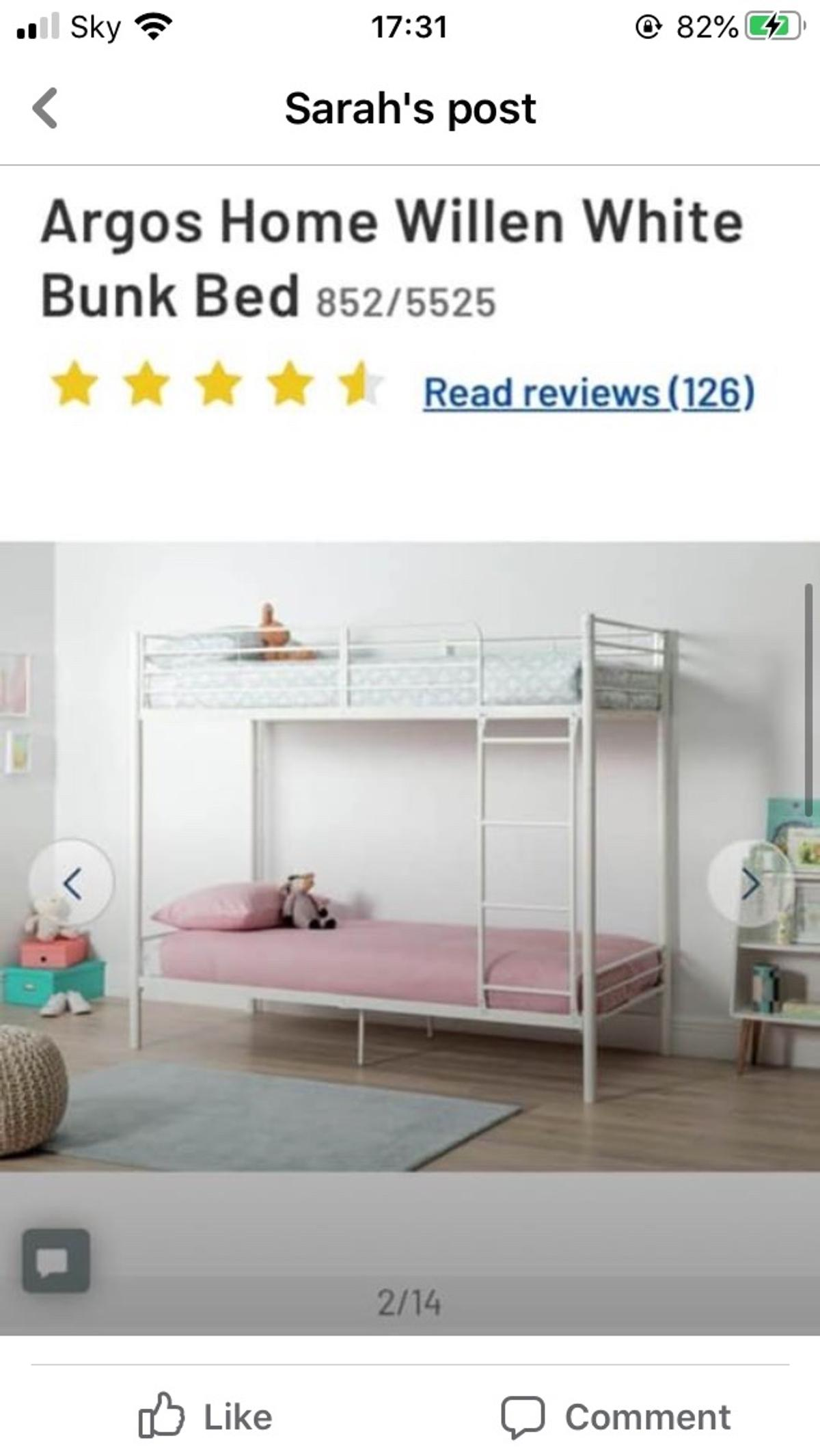Picture of: Argos Home Willen White Bunk Bed In Fk7 Stirling For 70 00 For Sale Shpock