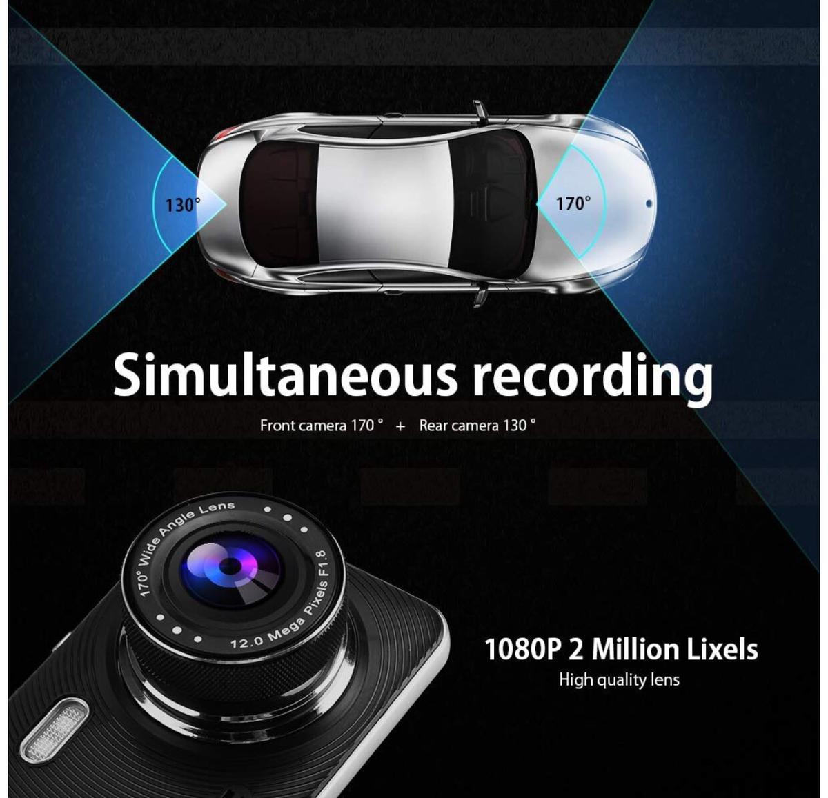 """Dual Dash Cam, 1080P Full HD Touch Screen Car Camera Front and Rear 4"""" Car DVR Dashboard Camera Video Recorder with Night Vision, Motion Detection, Parking Monitoring, G-Sensor, Loop Recording."""