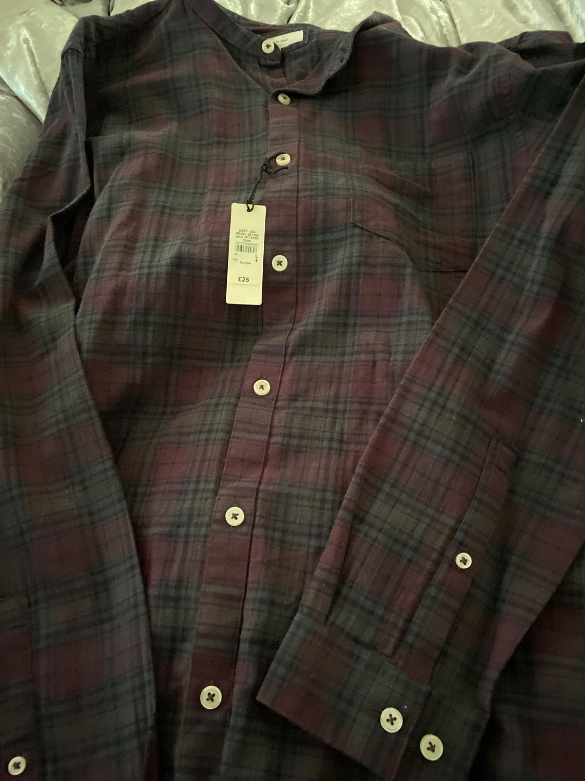 Navy & burgundy shirt brand new with tags in large