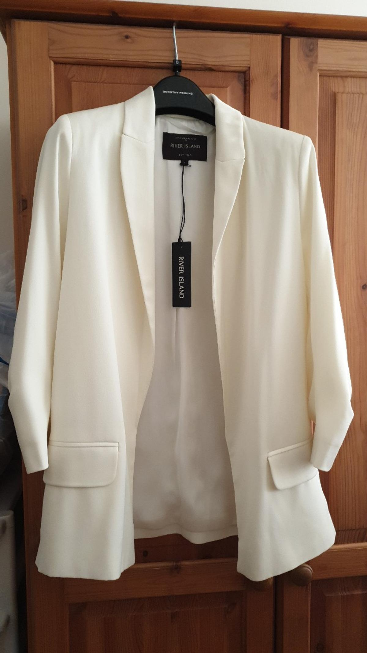 2x river island blazers size 8 .  black is excellent condition but missing label.  off white/cream is BNWT.  rrp £60.  listing is for both blazers.  collection from WV11