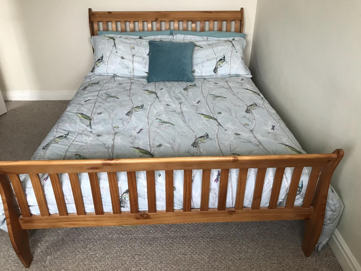 Picture of: King Size Wooden Sleigh Bed In St15 Stafford For 50 00 For Sale Shpock