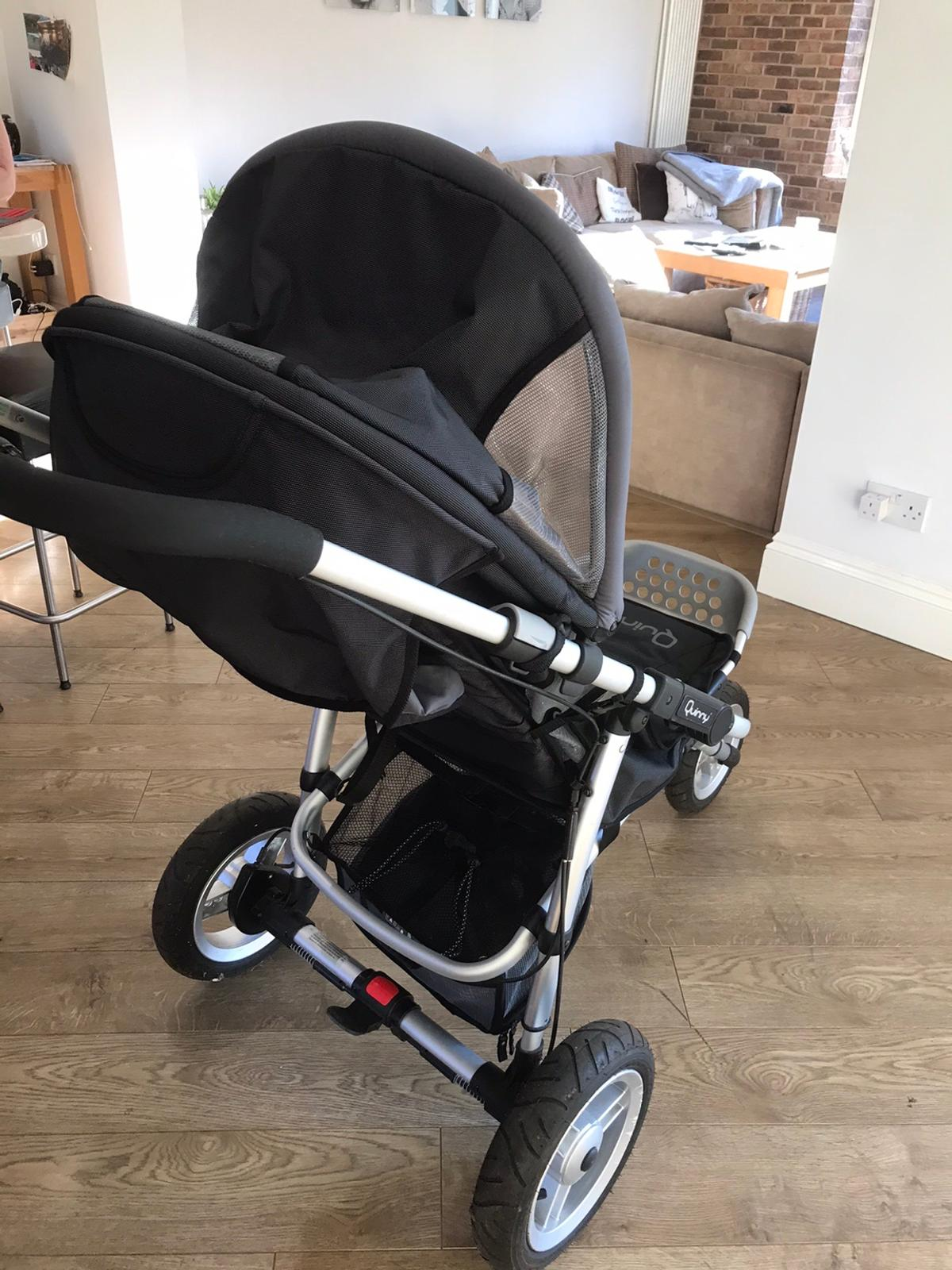 3 wheel pushchair with pneumatic tyres. Was used for jogging with the baby . In excellent condition Cost over £300 new
